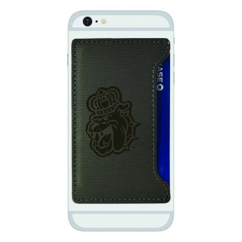 James Madison University-Textured Faux Leather Cell Phone Card Holder-Grey