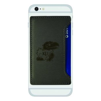 The University of Kansas-Textured Faux Leather Cell Phone Card Holder-Grey