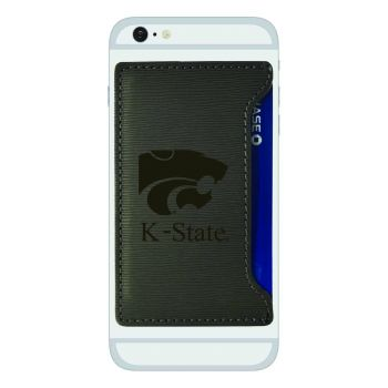 Kansas State University-Textured Faux Leather Cell Phone Card Holder-Grey