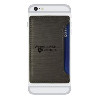 Washington State University-Textured Faux Leather Cell Phone Card Holder-Grey