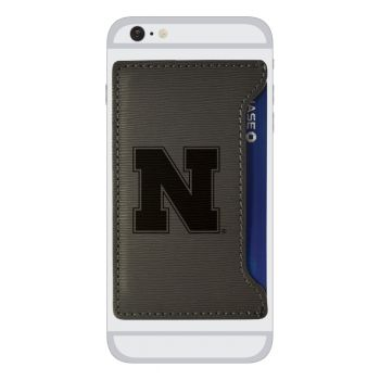 University of Nebraska-Textured Faux Leather Cell Phone Card Holder-Grey