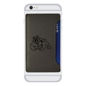 Fresno State-Textured Faux Leather Cell Phone Card Holder-Grey