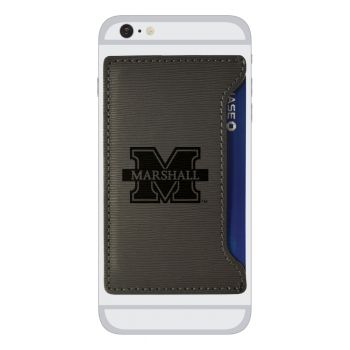Marshall University -Textured Faux Leather Cell Phone Card Holder-Grey