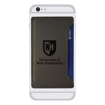 University of New Hampshire-Textured Faux Leather Cell Phone Card Holder-Grey