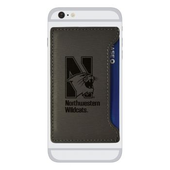 Northwestern University-Textured Faux Leather Cell Phone Card Holder-Grey