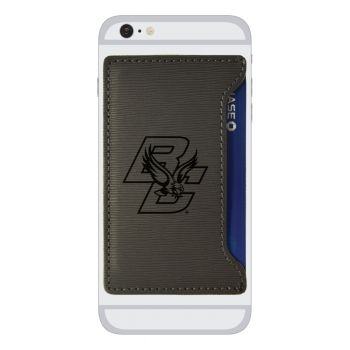 Boston College-Textured Faux Leather Cell Phone Card Holder-Grey