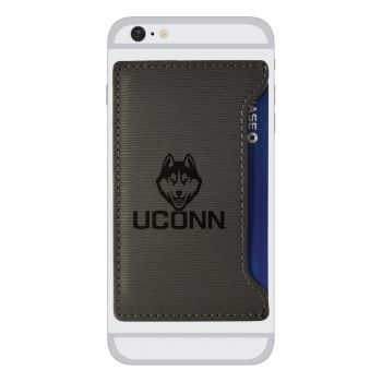 University of Connecticut-Textured Faux Leather Cell Phone Card Holder-Grey