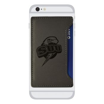 Southern Utah University-Textured Faux Leather Cell Phone Card Holder-Grey