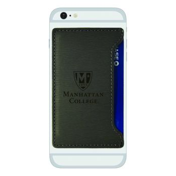Manhattan College-Textured Faux Leather Cell Phone Card Holder-Grey