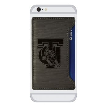 Tuskegee University-Textured Faux Leather Cell Phone Card Holder-Grey