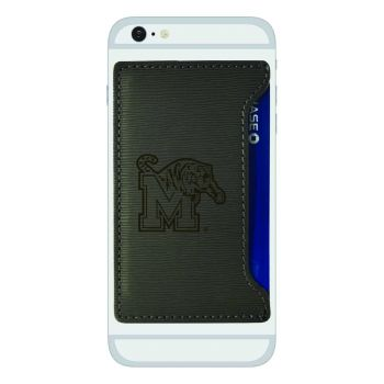 University of Memphis-Textured Faux Leather Cell Phone Card Holder-Grey