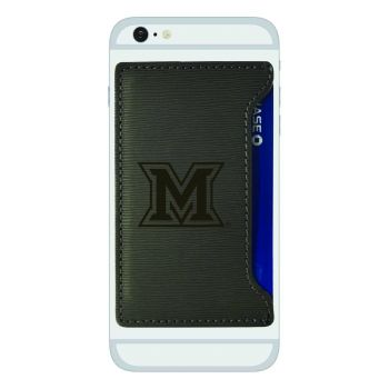Miami University -Textured Faux Leather Cell Phone Card Holder-Grey
