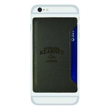 University of Nebraska at Kearney-Textured Faux Leather Cell Phone Card Holder-Grey