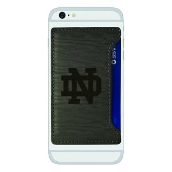 University of Notre Dame-Textured Faux Leather Cell Phone Card Holder-Grey