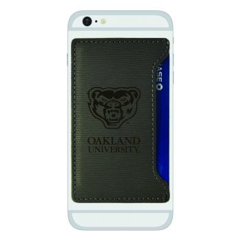 Oakland University-Textured Faux Leather Cell Phone Card Holder-Grey