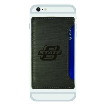 Oklahoma State University-Textured Faux Leather Cell Phone Card Holder-Grey