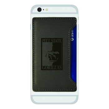 Pittsburg State University-Textured Faux Leather Cell Phone Card Holder-Grey