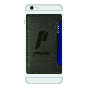 The University of Portland-Textured Faux Leather Cell Phone Card Holder-Grey