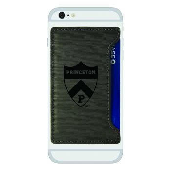 Princeton University-Textured Faux Leather Cell Phone Card Holder-Grey