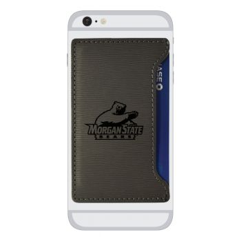 Morgan State University-Textured Faux Leather Cell Phone Card Holder-Grey