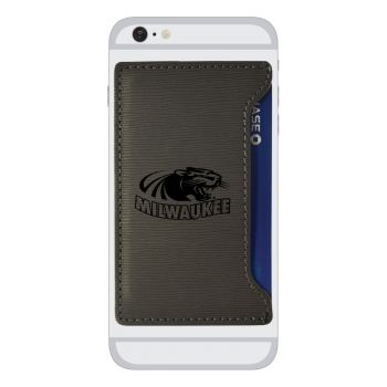 University of Wisconsin-Milwaukee-Textured Faux Leather Cell Phone Card Holder-Grey