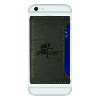 Providence College-Textured Faux Leather Cell Phone Card Holder-Grey