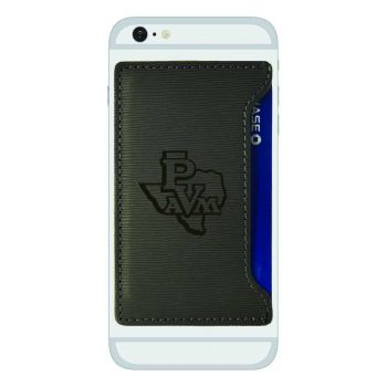 Prairie View A&M University-Textured Faux Leather Cell Phone Card Holder-Grey