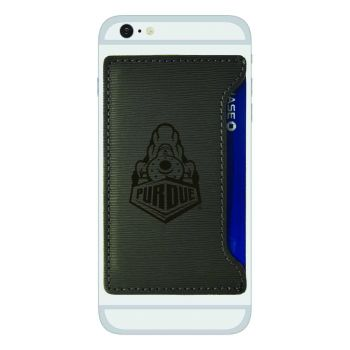Purdue University-Textured Faux Leather Cell Phone Card Holder-Grey