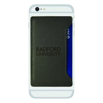 Radford University-Textured Faux Leather Cell Phone Card Holder-Grey