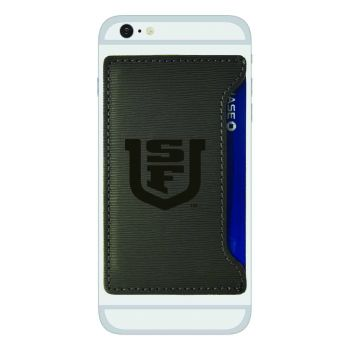 University of San Francisco-Textured Faux Leather Cell Phone Card Holder-Grey