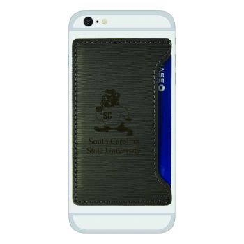South Carolina State University-Textured Faux Leather Cell Phone Card Holder-Grey