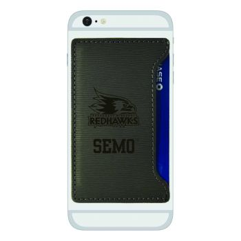 Southeast Missouri State University-Textured Faux Leather Cell Phone Card Holder-Grey