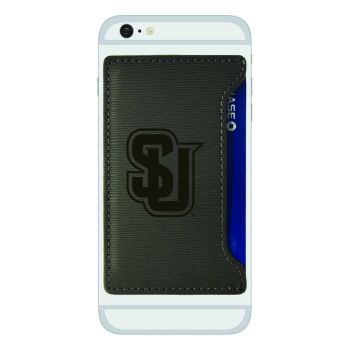 Seattle University-Textured Faux Leather Cell Phone Card Holder-Grey