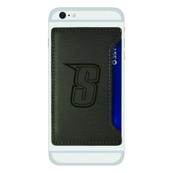 Siena College-Textured Faux Leather Cell Phone Card Holder-Grey