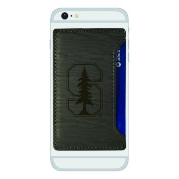 Stanford University-Textured Faux Leather Cell Phone Card Holder-Grey