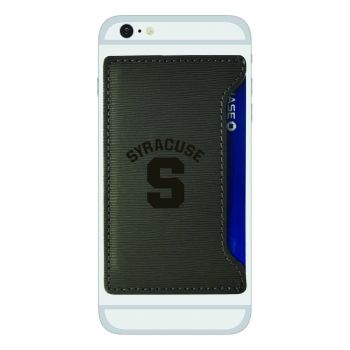 Syracuse University-Textured Faux Leather Cell Phone Card Holder-Grey