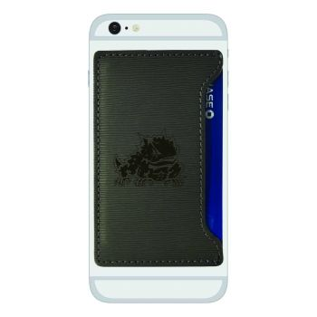 Texas Christian University-Textured Faux Leather Cell Phone Card Holder-Grey