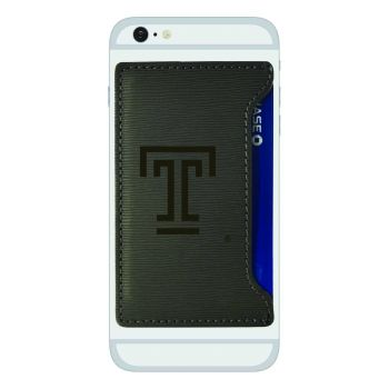 Temple University-Textured Faux Leather Cell Phone Card Holder-Grey