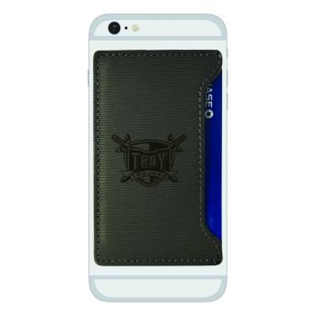 Troy University-Textured Faux Leather Cell Phone Card Holder-Grey