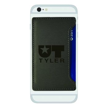 University of Texas at Tyler-Textured Faux Leather Cell Phone Card Holder-Grey