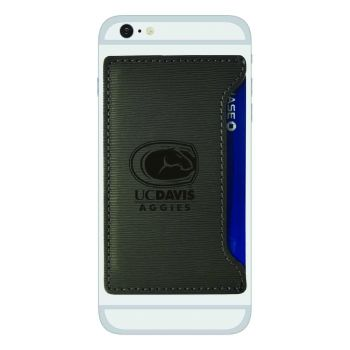 University of California, Davis -Textured Faux Leather Cell Phone Card Holder-Grey
