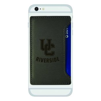 University of California, Riverside-Textured Faux Leather Cell Phone Card Holder-Grey