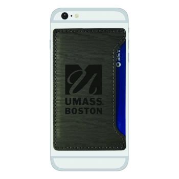 University of Massachusetts, Boston-Textured Faux Leather Cell Phone Card Holder-Grey
