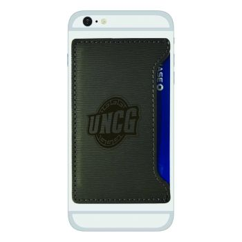 University of North Carolina at Greensboro-Textured Faux Leather Cell Phone Card Holder-Grey