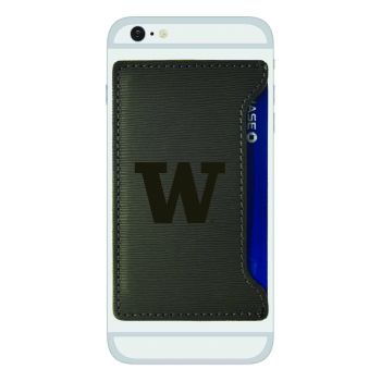 University of Washington-Textured Faux Leather Cell Phone Card Holder-Grey