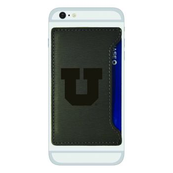 University of Utah-Textured Faux Leather Cell Phone Card Holder-Grey