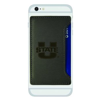 Utah State University-Textured Faux Leather Cell Phone Card Holder-Grey