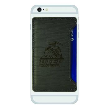 The University of Texas at El Paso -Textured Faux Leather Cell Phone Card Holder-Grey