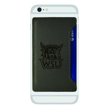 Weber State University-Textured Faux Leather Cell Phone Card Holder-Grey