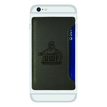University of West Florida-Textured Faux Leather Cell Phone Card Holder-Grey